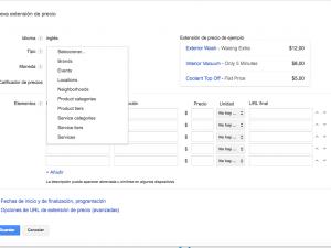 Extensión de Anuncios de precio de Google Adwords