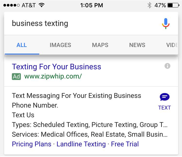 Extensión de Anuncios por SMS en Google Adwords