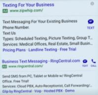 extension de anuncios por sms y llamada en google adwords