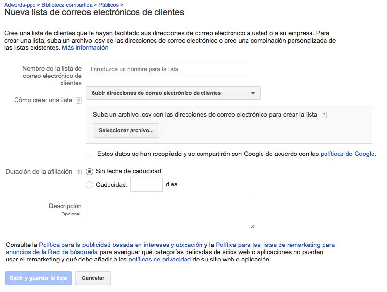 Crear lista de correos electrónicos de clientes